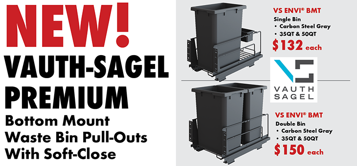 Vauth-Sagel Premium Bottom Mount Waste Bin Pull-Outs with Soft-Close (opens PDF in new window)